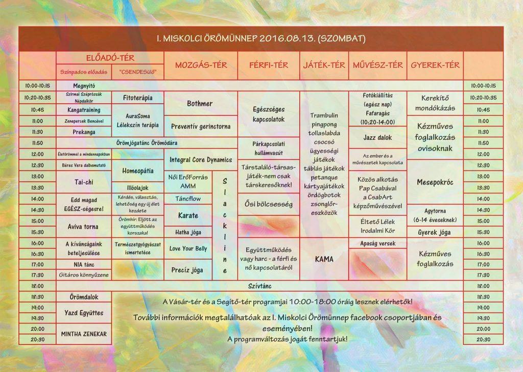 Örömünnep részletes program